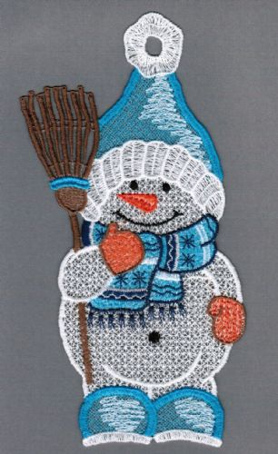 Embroidered Lace Friendly Snowman with Broom Christmas Window Picture